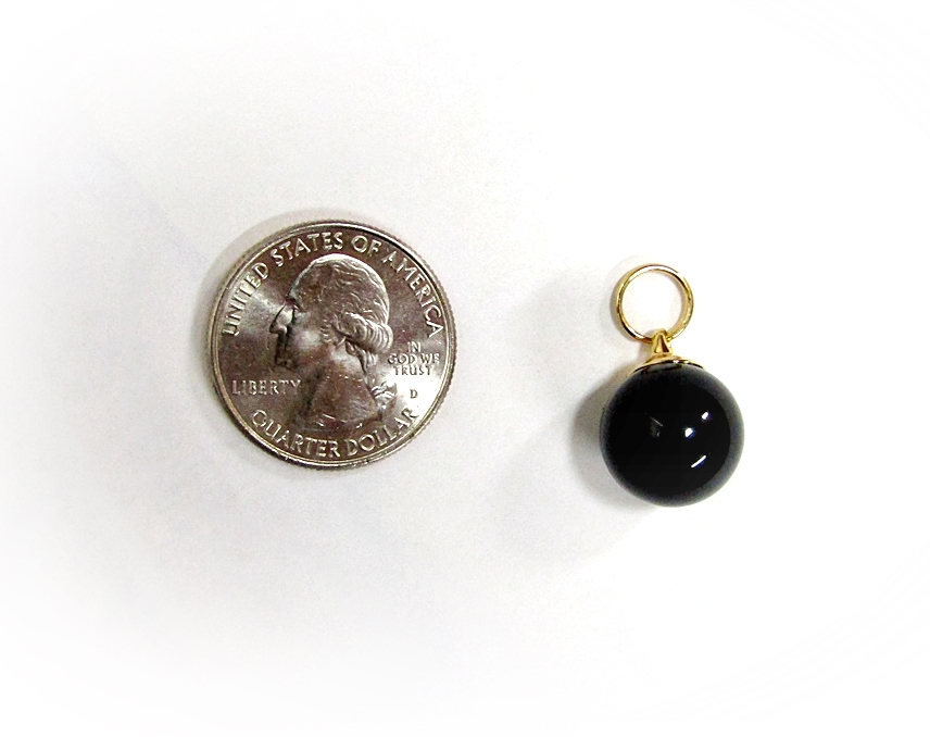St John Zipper Pull Charm Black Ball Round Gold Replacement Rare 22kgp Ring