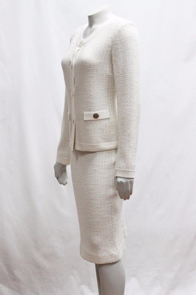26fa2d8dbd8c St. John Cream New Collection P 0 02 Tweed 2pc Jacket Gold Skirt Suit