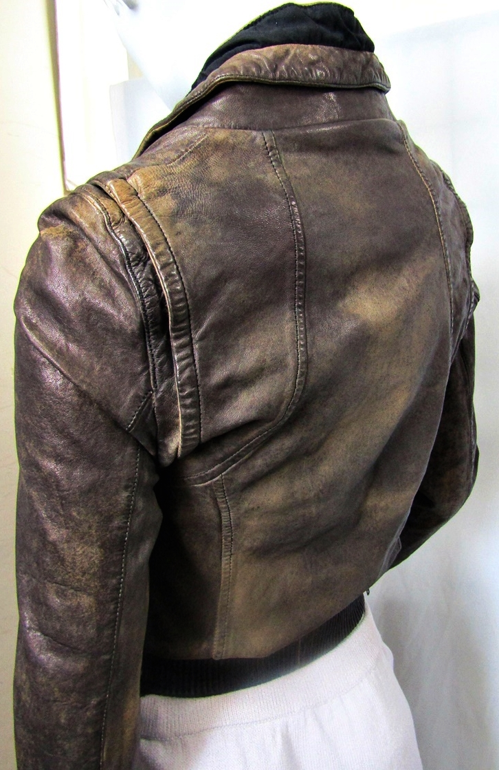 All Saints Distressed Bomber Leather Jacket Brown 38 6